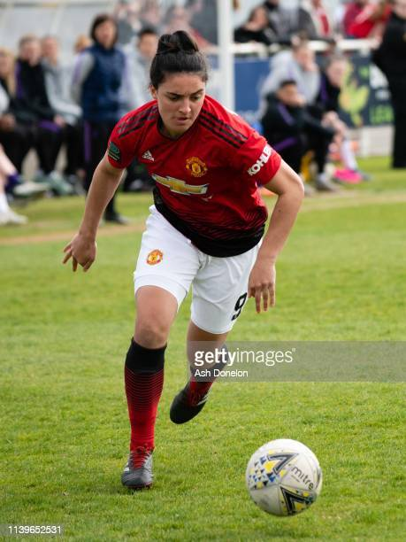 Jess Sigsworth of Manchester United in action during the WSL 2 match between Tottenham Hotspur Women and Manchester United Women on March 31 2019 in...