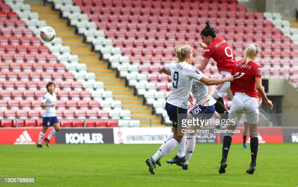 Jess Sigsworth of Manchester United scores her teams second goal during the Barclays FA Women's Super League match between Manchester United Women...