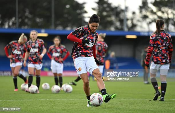 Jess Sigsworth of Manchester United warms up ahead of the Barclays FA Women's Super League match between Chelsea Women and Manchester United Women at...
