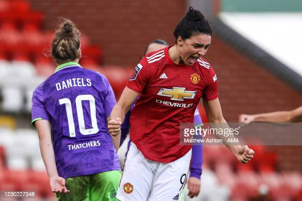 Jess Sigsworth of Manchester United Women celebrates after scoring a goal to make it 3-0 during the Barclays FA Women's Super League match between...