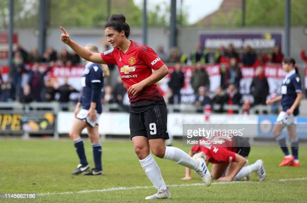 Jess Sigsworth of Manchester United Women celebrates scoring her team's fifth goal during the FA Women's Championship match between Millwall...
