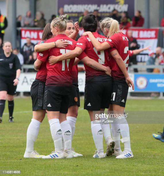Jess Sigsworth of Manchester United Women celebrates scoring their fifth goal during the FA Women's Championship match between Manchester United...