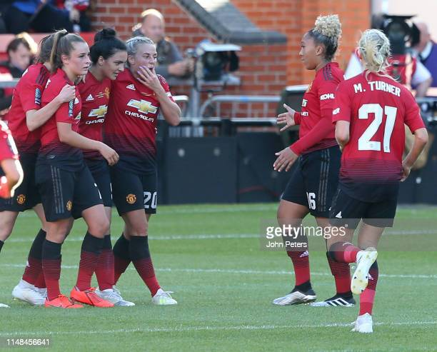 Jess Sigsworth of Manchester United Women celebrates scoring their second goal during the WSL match between Manchester United Women and Lewes Women...