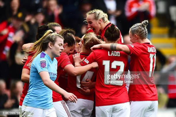 Jess Sigsworth of Manchester United Women celebrates scoring their second goal during the FA Women's Continental League Cup match between Manchester...