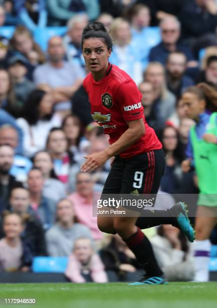 Jess Sigsworth of Manchester United Women in action during the Barclays FA Women's Super League match between Manchester City and Manchester United...