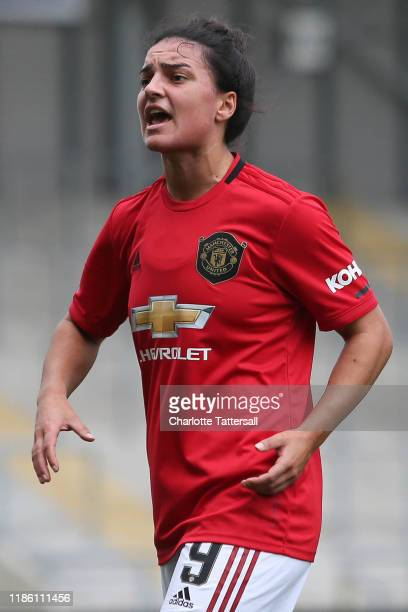 Jess Sigsworth of Manchester United Women reacts during the FA Women's Continental League Cup match between Manchester United Women and Manchester...