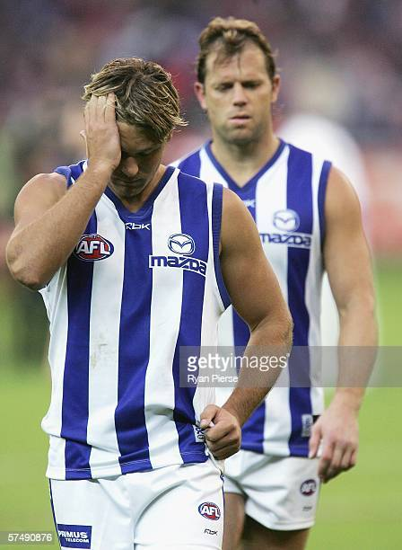 Jess Sinclair of the Kangaroos looks dejected after the round five AFL match between the Melbourne Demons and the Kangaroos at the Melbourne Cricket...