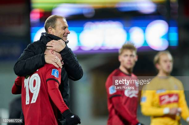 Jess Thorup, head coach of FC Copenhagen and Bryan Oviedo of FC Copenhagen celebrate after the Danish 3F Superliga match between Sonderjyske and FC...