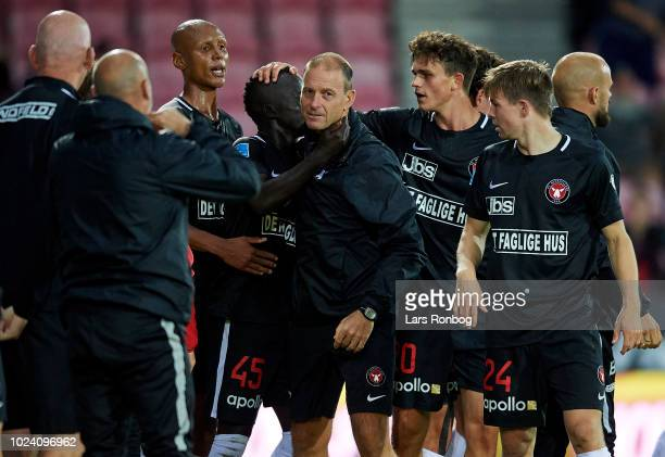 Jess Thorup head coach of FC Midtjylland and Awer Mabil of FC Midtjylland celebrate after scoring their first goal during the Danish Superliga match...