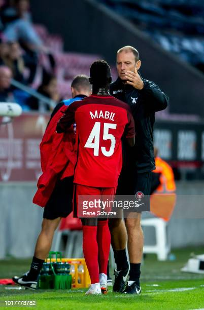 Jess Thorup head coach of FC Midtjylland and Awer Mabil of FC Midtjyllandin the UEFA Europa League Qual match between FC Midtjylland and The New...