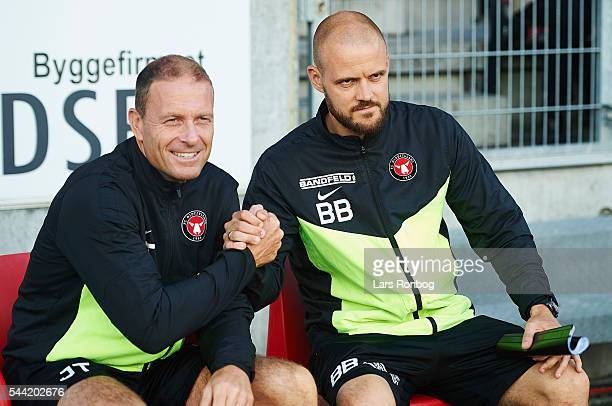 Jess Thorup head coach of FC Midtjylland and Kristian Bach Bak assistant coach of FC Midtjylland shake hands prior to the Europa League Qualifier...