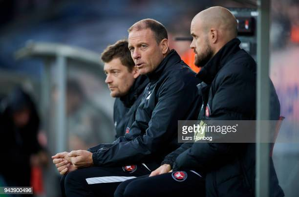 Jess Thorup head coach of FC Midtjylland and Kristian Bach Bak assistant coach of FC Midtjylland on the bench during the Danish Alka Superliga match...