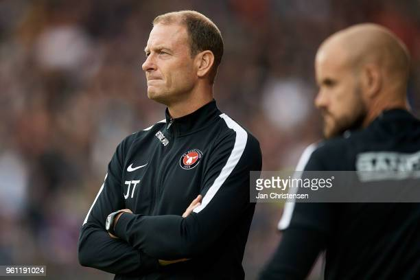 Jess Thorup head coach of FC Midtjylland and Kristian Bach Bak assistant coach of FC Midtjylland looks on during the Danish Alka Superliga match...