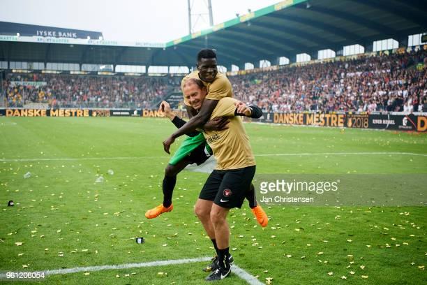 Jess Thorup head coach of FC Midtjylland and Paul Onuachu of FC Midtjylland celebrating the Danish Championship after the Danish Alka Superliga match...