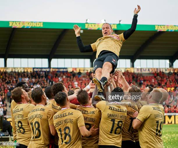 Jess Thorup head coach of FC Midtjylland and the players of FC Midtjylland celebrating the Danish Championship after the Danish Alka Superliga match...