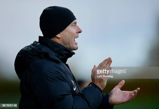 Jess Thorup head coach of FC Midtjylland applause during the Danish Alka Superliga match between Lyngby BK and FC Midtjylland at Lyngby Stadion on...