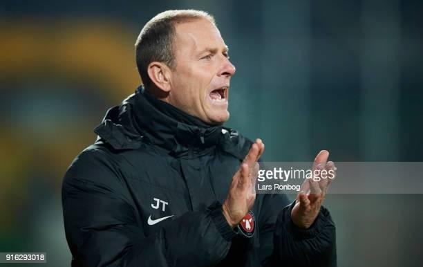Jess Thorup head coach of FC Midtjylland beer during the Danish Alka Superliga match between AC Horsens and FC Midtjylland at CASA Arena Horsens on...