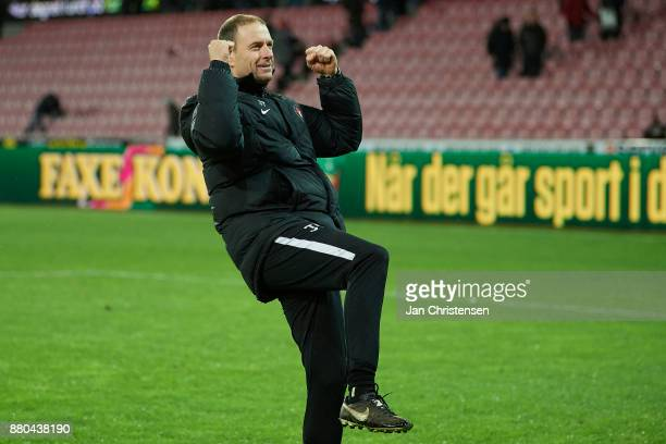 Jess Thorup head coach of FC Midtjylland celebrate after the Danish Alka Superliga match between FC Midtjylland and AGF Arhus at MCH Arena on...