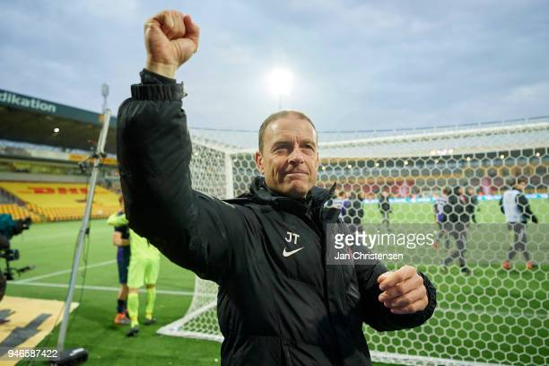 Jess Thorup head coach of FC Midtjylland celebrate after the Danish Alka Superliga match between FC Nordsjalland and FC Midtjylland at Right to Dream...