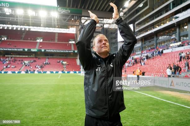 Jess Thorup head coach of FC Midtjylland celebrate after the Danish Alka Superliga match between FC Copenhagen and FC Midtjylland at Telia Parken...