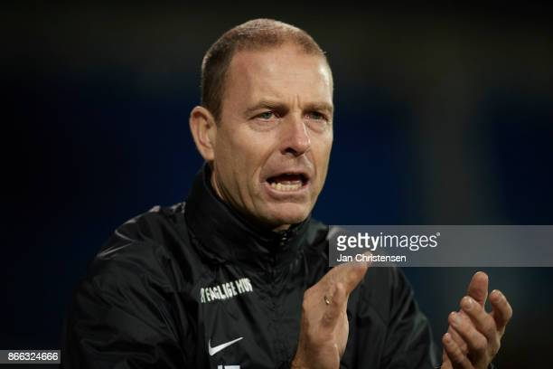 Jess Thorup head coach of FC Midtjylland celebrate during the Danish Cup DBU Pokalen match between OB Odense and FC Midtjylland at TREFOR Park on...