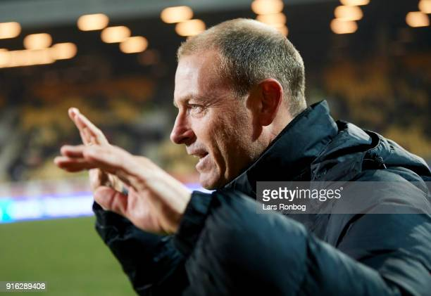 Jess Thorup head coach of FC Midtjylland celebrates after scoring their second goal during the Danish Alka Superliga match between AC Horsens and FC...