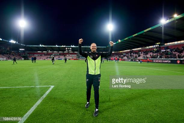 Jess Thorup head coach of FC Midtjylland celebrates after the Danish Superliga match between FC Midtjylland and FC Copenhagen at MCH Arena on...