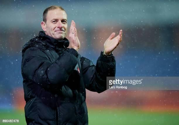Jess Thorup head coach of FC Midtjylland celebrates after the Danish Alka Superliga match between Randers FC and FC Midtjylland at BioNutria Park on...