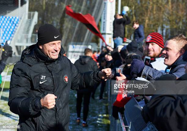 Jess Thorup head coach of FC Midtjylland celebrates after the Danish Alka Superliga match between Hobro IK and FC Midtjylland at DS Arena on February...
