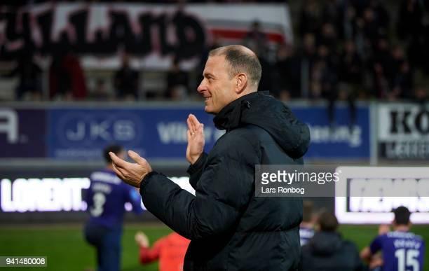 Jess Thorup head coach of FC Midtjylland celebrates after the Danish Alka Superliga match between AC Horsens and FC Midtjylland at CASA Arena...