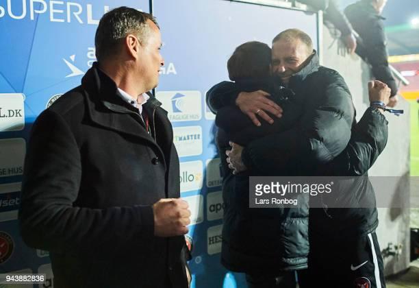 Jess Thorup head coach of FC Midtjylland celebrates after the Danish Alka Superliga match between FC Midtjylland and FC Copenhagen at MCH Arena on...