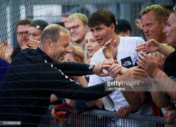Jess Thorup head coach of FC Midtjylland celebrates with te fans after the Danish Superliga match between Vejle Boldklub and FC Midtjylland at Vejle...