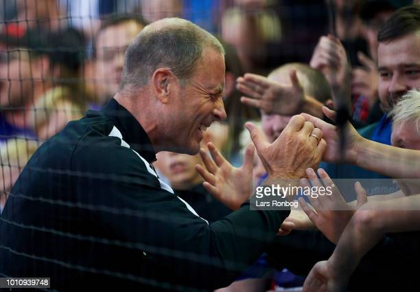Jess Thorup head coach of FC Midtjylland celebrates with the fans after the Danish Superliga match between Vejle Boldklub and FC Midtjylland at Vejle...