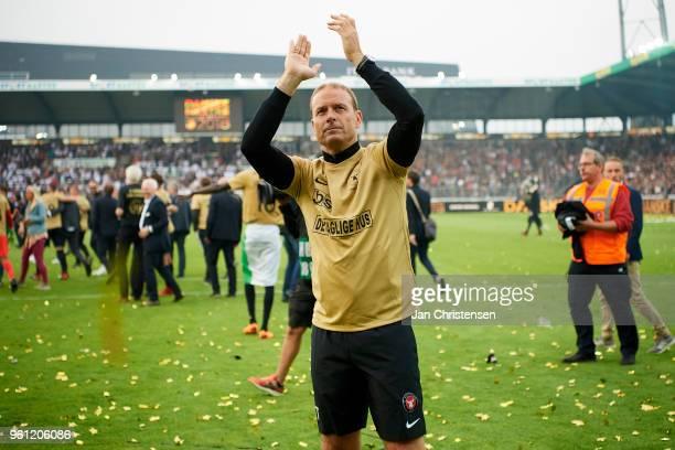 Jess Thorup head coach of FC Midtjylland celebrating the Danish Championship after the Danish Alka Superliga match between FC Midtjylland and AC...