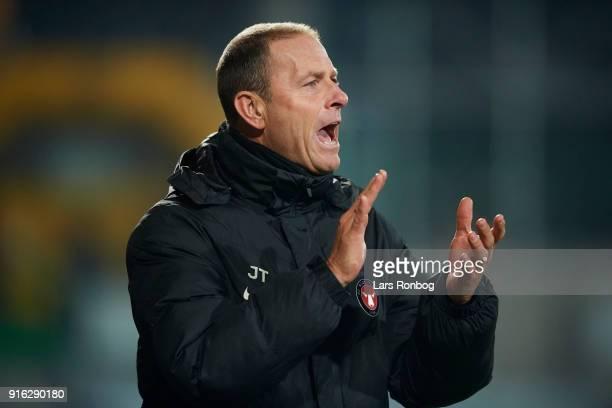 Jess Thorup head coach of FC Midtjylland cheer during the Danish Alka Superliga match between AC Horsens and FC Midtjylland at CASA Arena Horsens on...