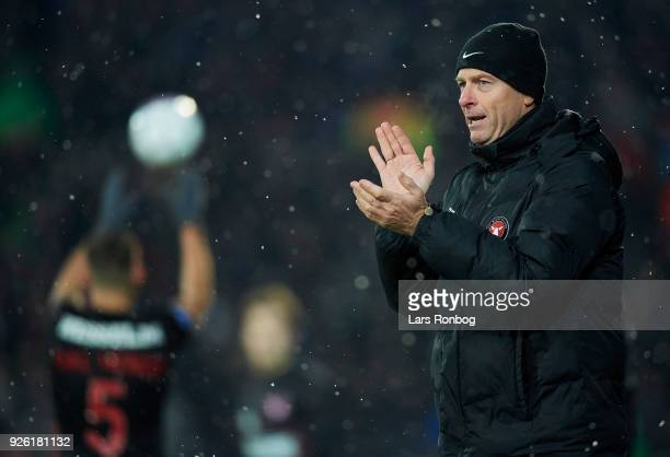 Jess Thorup head coach of FC Midtjylland gestures during the Danish Alka Superliga match between FC Midtjylland and Brondby IF at MCH Arena on March...