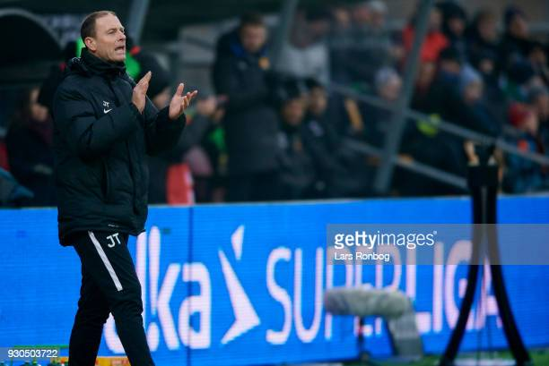 Jess Thorup head coach of FC Midtjylland gestures during the Danish Alka Superliga match between FC Nordsjalland and FC Midtjylland at Right to Dream...