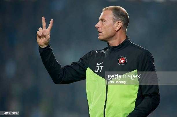 Jess Thorup head coach of FC Midtjylland gestures during the Danish Alka Superliga match between FC Midtjylland and Brondby IF at MCH Arena on April...