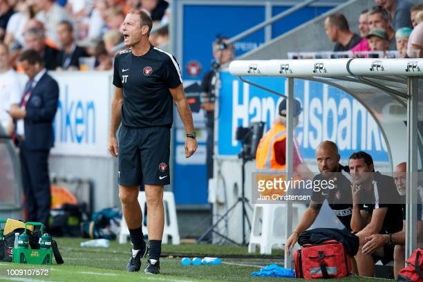 Jess Thorup head coach of FC Midtjylland gives instructions during the UEFA Champions League Qualification 2nd Leg match between FC Midtjylland and...