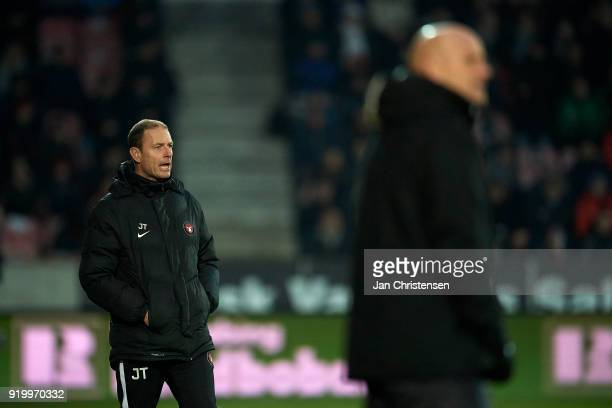 Jess Thorup head coach of FC Midtjylland gives instructions during the Danish Alka Superliga match between FC Midtjylland and FC Copenhagen at MCH...