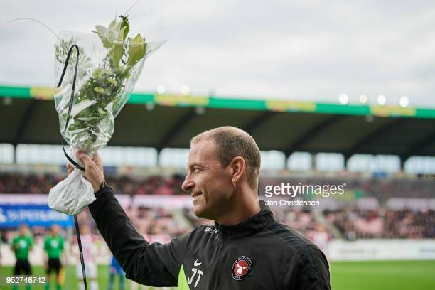 Jess Thorup head coach of FC Midtjylland honored after 100 Superliga matches in the lead of FC Midtjylland prior the Danish Alka Superliga match...