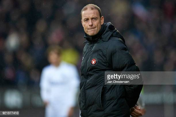 Jess Thorup head coach of FC Midtjylland in action during the Danish Alka Superliga match between FC Midtjylland and FC Copenhagen at MCH Arena on...