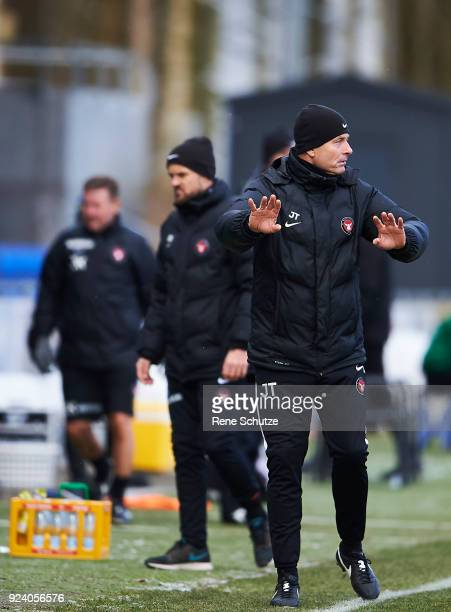 Jess Thorup head coach of FC Midtjylland in action during the Danish Alka Superliga match between Hobro IK and FC Midtjylland at DS Arena on February...