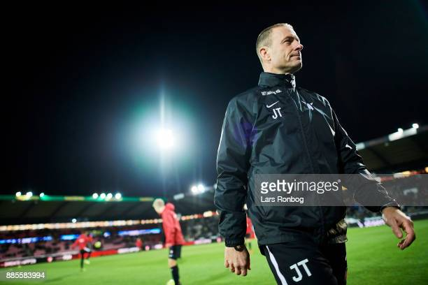 Jess Thorup head coach of FC Midtjylland leaving the pitch after the warm up prior to the Danish Alka Superliga match between FC Midtjylland and OB...