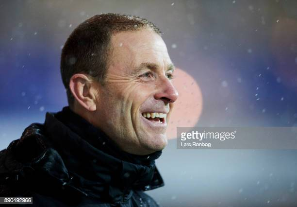 Jess Thorup head coach of FC Midtjylland looking happy during the Danish Alka Superliga match between Randers FC and FC Midtjylland at BioNutria Park...