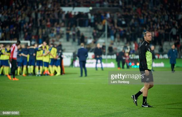 Jess Thorup head coach of FC Midtjylland looks dejected after the Danish Alka Superliga match between FC Midtjylland and Brondby IF at MCH Arena on...