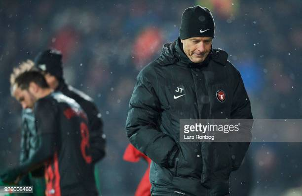 Jess Thorup head coach of FC Midtjylland looks dejected during the Danish Alka Superliga match between FC Midtjylland and Brondby IF at MCH Arena on...