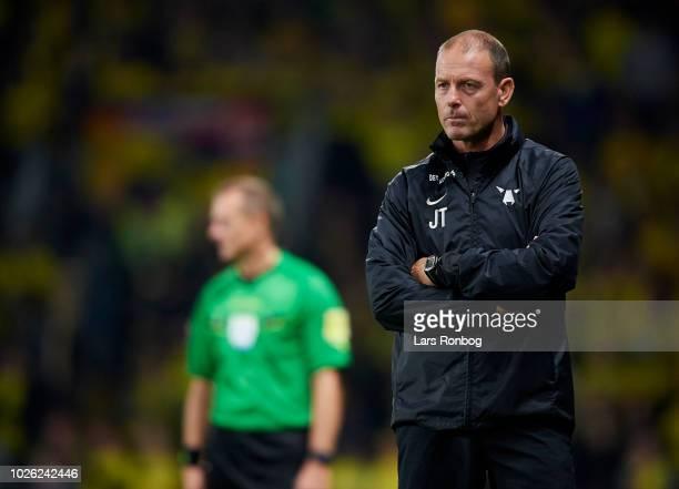Jess Thorup head coach of FC Midtjylland looks on during the Danish Superliga match between Brondby IF and FC Midtjylland at Brondby Stadion on...