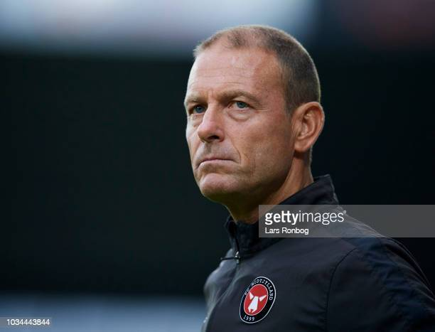Jess Thorup head coach of FC Midtjylland looks on during the Danish Superliga match between FC Midtjylland and FC Copenhagen at MCH Arena on...