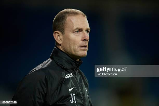 Jess Thorup head coach of FC Midtjylland looks on during the Danish Cup DBU Pokalen match between OB Odense and FC Midtjylland at TREFOR Park on...